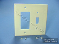 Leviton Midway Ivory 2-Gang Leviton Decora Combination Switch Cover GFCI GFI Wallplate 80605-I