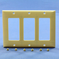 Pass and Seymour Ivory Standard Size 3-Gang Decorator Thermoset Wallplate Cover SP263-I
