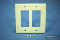 New Leviton Almond Decora Midway GFI GFCI 2-Gang Plastic Cover Wallplate 80609-A