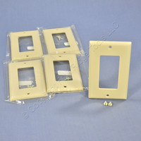 5 Cooper Ivory Standard 1-Gang Decorator GFI GFCI Cover Thermoset Wallplates 2151V