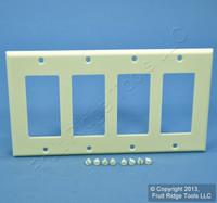 Leviton Almond Decora 4Gang Standard Size Flush Wallplate GFCI GFI Cover 80412-A