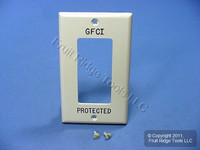 """Leviton Ivory Unbreakable Decora """"GFCI PROTECTED"""" Wallplate GFI Cover 80401-GFI"""