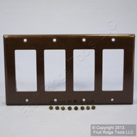New Leviton Brown Decora 4-Gang Wallplate GFCI GFI Thermoset Plastic Cover 80412