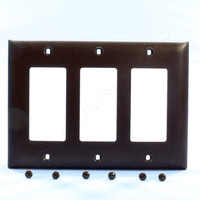 Pass and Seymour Brown Trademaster® 3-Gang Decorator Unbreakable Nylon Wallplate Cover TP263