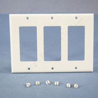 Cooper White Standard Decorator 3-Gang Thermoset Wallplate GFCI GFI Cover 2163W