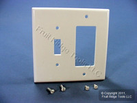 Leviton Midway White 2-Gang Leviton Decora Combination Switch Cover GFCI GFI Wallplate 80605-W