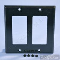 Leviton Black 2-Gang Decora Wallplate GFCI GFI Standard Plastic Cover 80409-E