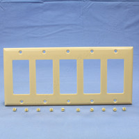 Cooper Thermoset Ivory 5-Gang Standard Size Decorator GFCI GFI Wallplate Cover 2165V