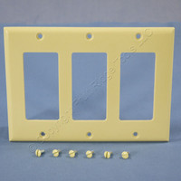 Cooper Ivory Standard Decorator 3-Gang Thermoset Wallplate GFCI GFI Cover 2163V