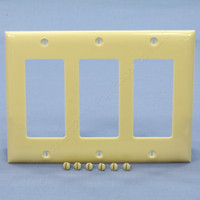 Bryant Ivory Decorator 3-Gang Unbreakable GFI GFCI Cover Rocker Switch Nylon Wallplate N2103D