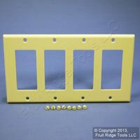 Leviton Ivory Decora Standard 4-Gang Wallplate GFCI GFI Plastic Cover 80412-I