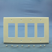 Leviton White 4-Gang Decora Unbreakable MIDWAY Large Wallplate GFI GFCI Cover PJ264-W