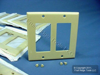 25 Leviton Ivory Decora 2-Gang Standard Wallplate GFCI GFI Smooth Covers 80409-I