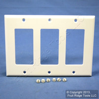 Leviton White Decora 3-Gang Plastic Wallplate GFCI GFI Thermoset Cover 80411-W