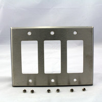 Eagle NON-MAGNETIC Midway Mid-Size Stainless Steel 3-Gang Decorator Wallplate Cover GFCI GFI 93936