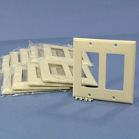 10 Cooper Light Almond Decorator Standard 2-Gang Thermoset Wallplate GFCI GFI Covers 2152LA