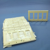 10 Leviton Almond Decora 4-Gang Standard Wallplates GFCI Plastic Covers 80412-A