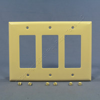 Eagle Ivory Decorator Mid-Size 3-Gang GFI GFCI Cover Rocker Switch Thermoset Wallplate 2063V