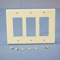 Leviton Light Almond Decora LARGE 3-Gang GFI GFCI Cover Rocker Switch Wallplate 80611-T