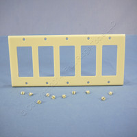 Leviton Ivory RESIDENTIAL 5-Gang Decora GFCI GFI Wallplate Cover 80423-I