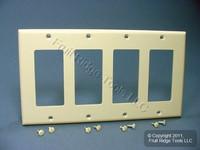 Leviton Almond Unbreakable Decora 4-Gang Wallplate GFCI GFI Cover 80412-NA