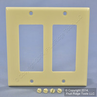 Leviton Ivory Decora 2-Gang Plastic Wallplate GFCI GFI Standard Cover 80409-I