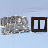 10 Cooper Brown Decorator Standard 2-Gang Thermoset Wallplate GFCI GFI Covers 2152B