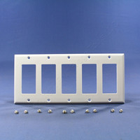 Cooper White Standard Decorator 5-Gang Thermoset Wallplate GFCI GFI Cover 2165W