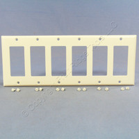 Cooper Light Almond Standard Decorator 6-Gang Thermoset Wallplate GFCI GFI Cover 2166LA