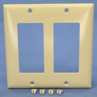 Pass and Seymour Ivory Standard Size 2-Gang Decorator Thermoset Wallplate Plastic Cover SP262-I