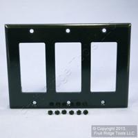 Leviton Black Decora 3-Gang Standard Size Flush Wallplate GFCI GFI Cover 80411-E