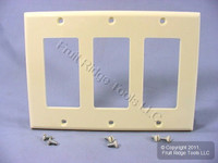 Leviton Almond Decora 3-Gang Flush Unbreakable Wallplate GFCI GFI Cover 80411-NA