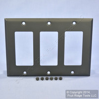 Mulberry Black Decorator 3-Gang Metal Wallplate GFCI GFI Cover 87403