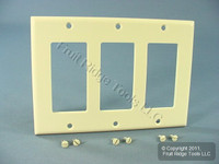 Leviton Light Almond Decora 3-Gang Thermoset Wallplate GFCI GFI Cover 80411-T