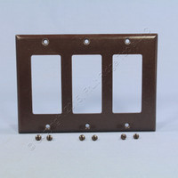 Eagle Brown Standard Decorator 3-Gang Thermoset Wallplate GFCI GFI Cover 2163B