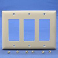 Pass and Seymour Light Almond Trademaster® 3-Gang Decorator Unbreakable Nylon Wallplate Covers TP263-LA