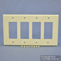 Leviton Almond LARGE Residential Decora GFCI 4-Gang Wallplate Cover GFI 80612-A