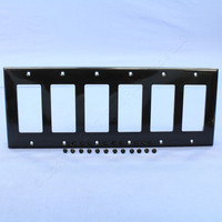 Pass and Seymour Trademaster Black 6-Gang Decorator Unbreakable Nylon Wallplate Cover TP266-BK