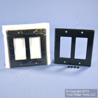 2 Leviton Black Decora 2G Standard Size Flush Wallplate GFCI GFI Covers 80409-E