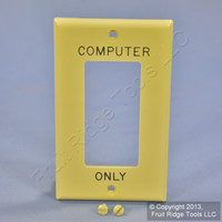 """Leviton Ivory UNBREAKABLE Decora """"COMPUTER ONLY"""" Wallplate GFI GFCI Cover 80401-COI"""