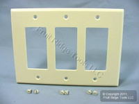 Leviton Almond Decora LARGE 3-Gang GFI GFCI Cover Rocker Switch Wallplate 80611-A