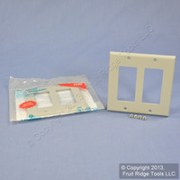 2 Leviton Gray Decora 2-Gang Unbreakable Wallplates GFCI GFI Covers 80409-NGY