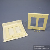2 Leviton Almond Decora 2-Gang Unbreakable Wallplates GFCI GFI Covers 80409-NA