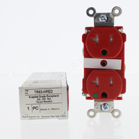 Pass & Seymour Red Tamper Resistant Straight Blade Duplex Receptacle Outlet NEMA 5-20R 20A 125V Hospital Grade TR63-HRED