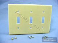 New Leviton Ivory 3-Gang Toggle Switch Plastic Cover Wallplate Switchplate 86011