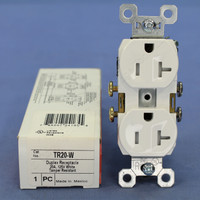 Pass & Seymour White Straight Blade TAMPER RESISTANT Duplex Outlet Receptacle NEMA 5-20R 20A 125V TR20-W