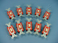 10 Pass & Seymour Ivory HARD USE DOUBLE POLE Toggle Light Switches 20A CSB20AC2-I