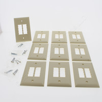 10 Pass & Seymour Trademaster Ivory Blank 4-Port DataCom Wallplate 1-Gang Covers TPDC4-ICP