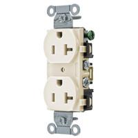 Hubbell Light Almond Straight Blade Duplex Receptacle Outlet 5-20R 20A Bulk BR20LAZ