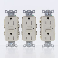 3-Pack Hubbell Lt Almond Self-Test Tamp Resistant GFCI Receptacle GFI Outlets 5-15R 15A GFT15LA